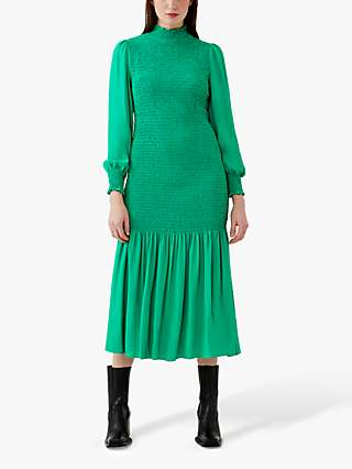 Ghost Dinah Shirred Midi Dress, Emerald Green