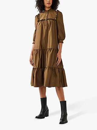 Ghost Mia Tiered Dress, Khaki Green