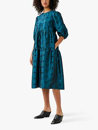 Ghost Aletta Embroidered Tiered Dress, Teal