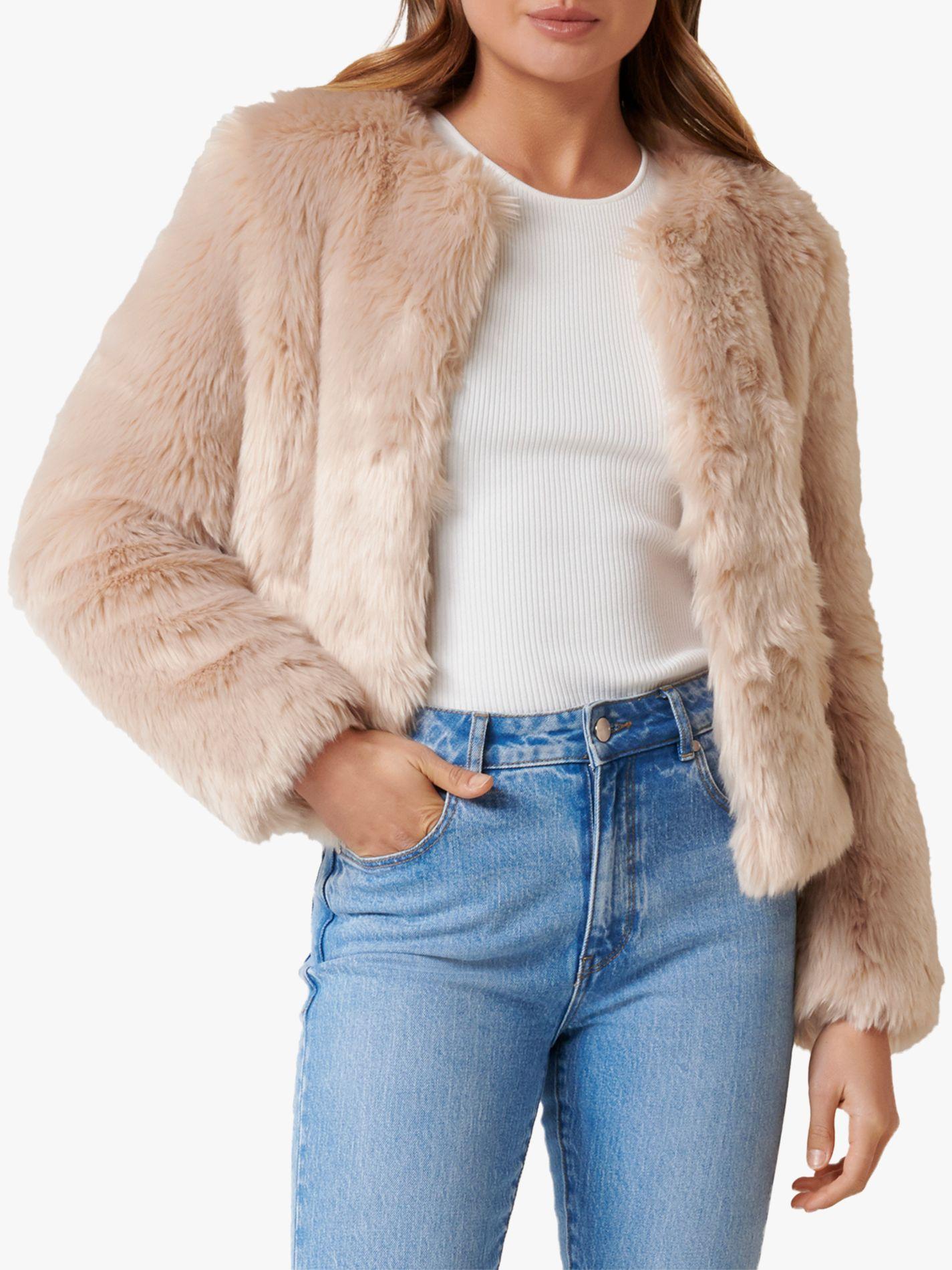 Lily Nude Faux Fur Jacket | Knitwear | PrettyLittleThing