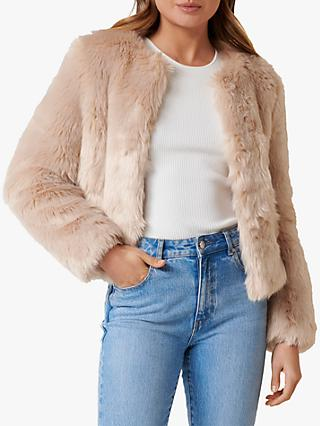 Forever New Angel Faux Fur Coat, Nude