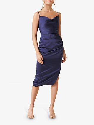 Forever New Laura Satin Ruched Midi Dress, Navy