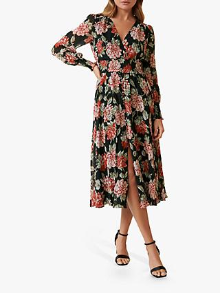 Forever New Evie Floral Print Midi Dress, Crimson Tides