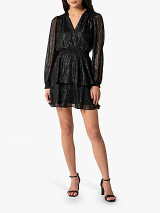 Forever New Keira Metallic Wrap Dress, Black
