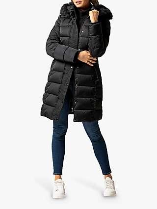 Forever New Darren Faux Fur Trim Hood Puffer Coat, Black