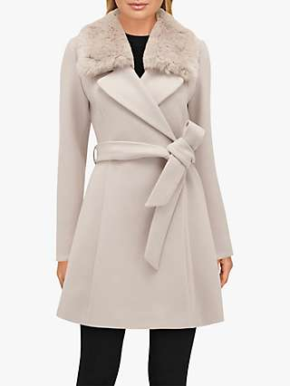 Forever New Jenna Faux Fur Collar Coat, Mink