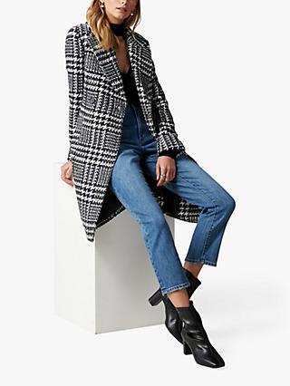 Forever New Jillian Houndstooth Coat, Black/Porcelain