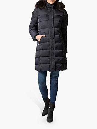 Forever New Darren Faux Fur Trim Hood Puffer Coat, Navy