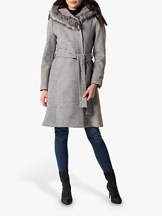 Forever New Bianca Faux Fur Trim Hood Wrap Coat, Grey Marl