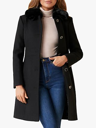 Forever New Linda Dolly Faux Fur Collar Coat, Black