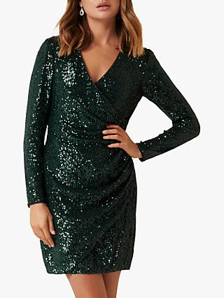 Forever New Jessica Embellished Mini Dress, Dark Green