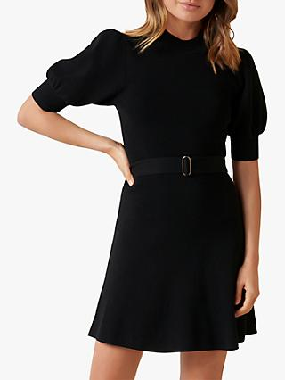 Forever New Louisa Knitted Puff Sleeve Dress, Black