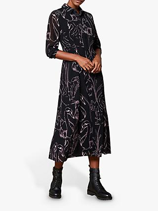 Mint Velvet Swan Print Shirt Dress, Black