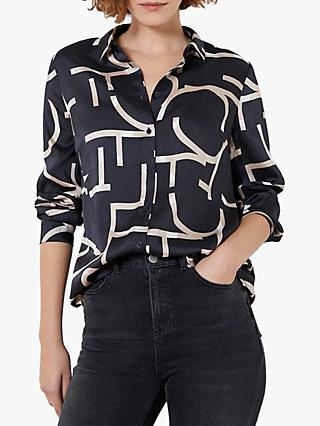 Mint Velvet Libby Abstract Typography Print Shirt, Navy