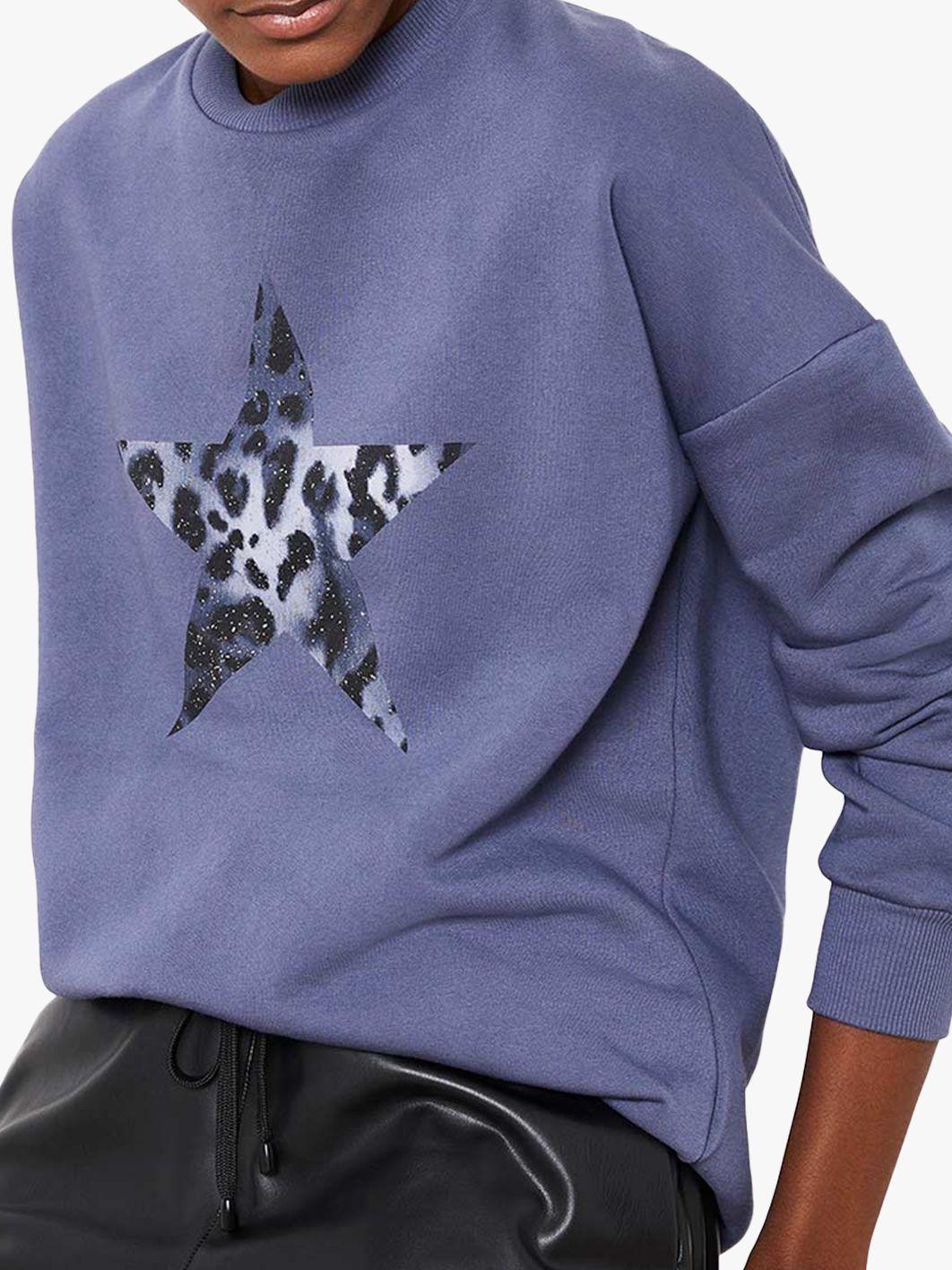 Mint Velvet Leopard Star Sweatshirt, Purple