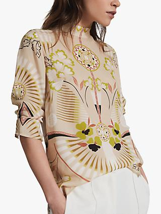 Reiss Beth Abstract Print Chiffon Blouse, Neutral/Multi
