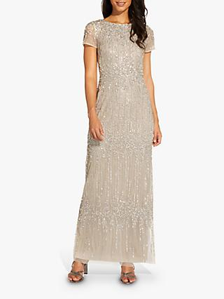 Adrianna Papell Pleated Beaded Maxi Gown, Silver