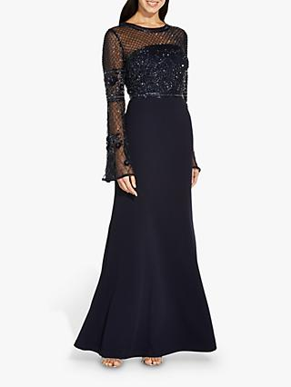 Adrianna Papell Beaded Floral Embroidered Maxi Gown, Midnight