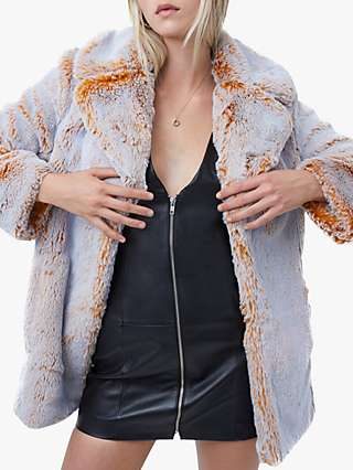 French Connection Danitanna Faux Fur Coat, Golden Melange