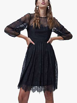 French Connection Chiara Lace Mini Dress, Black
