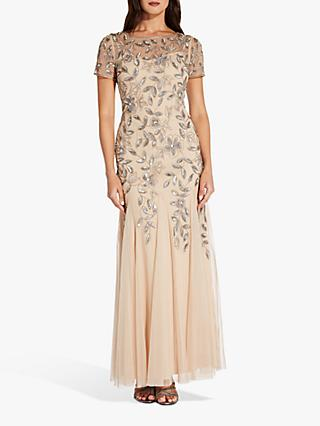Adrianna Papell Pleated Beaded Floral Maxi Gown, Taupe/Pink
