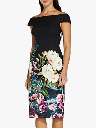 Adrianna Papell Bardot Floral Knee Length Dress, Black/Multi