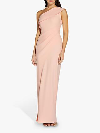 Adrianna Papell Asymmetrical Shoulder Draped Maxi Gown, Blush