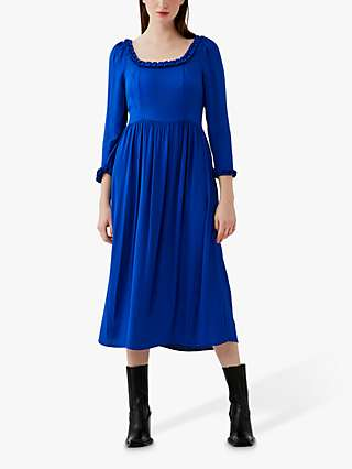Ghost Brynn Square Neck Dress, Cobalt Blue