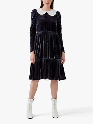 Ghost Tashia Silk Velvet Dress, Charcoal
