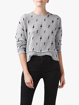 360 Sweater Indra Cashmere Bolt Jumper, Grey