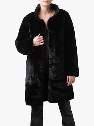 Velvet by Graham & Spencer Mina Faux Fur Reversible Coat, Black