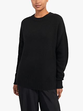 Jigsaw Cashmere Crew Neck Jumper, Black