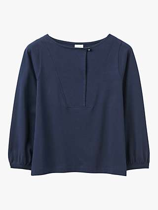 Toast Cotton Jersey Smock Top, Deep Navy