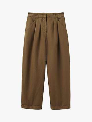 Toast Cotton Linen Wide Leg Trousers, Moss
