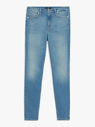 7 For All Mankind High Rise Skinny Crop Slim Illusion Jeans, Light Blue