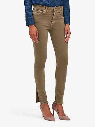 7 For All Mankind High Rise Skinny Crop Slim Illusion Split Hem Jeans, Aloe