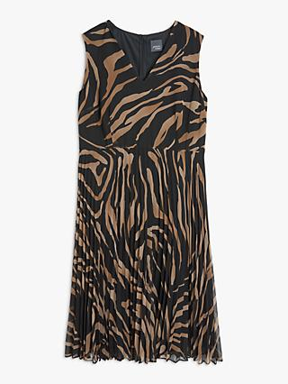 Persona by Marina Rinaldi Animal Print Georgette Dress, Black/Brown