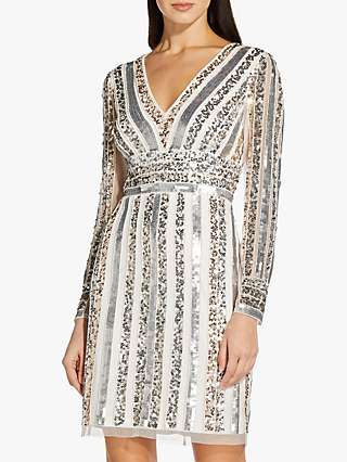 Adrianna Papell Beaded Stripe Mini Dress