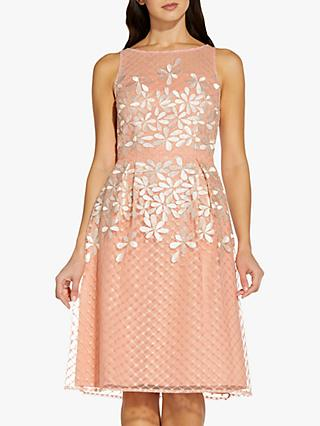 Adrianna Papell Latice Embroidered Dress, Blush/Ivory