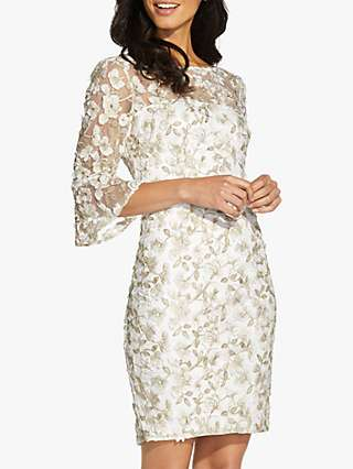 Adrianna Papell Floral Embroidered Metallic Dress, Ivory/Gold