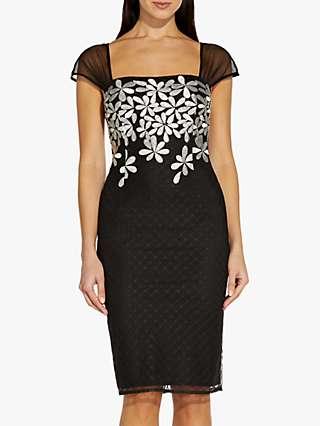 Adrianna Papell Floral Sheath Dress, Black/Ivory