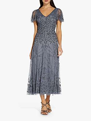 Adrianna Papell Beaded Midi Dress, Dusty Blue