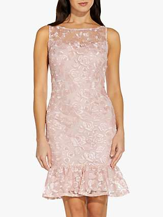 Adrianna Papell Rosie Embroidered Dress, Pink Shell