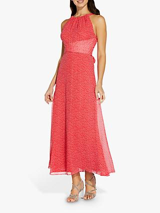 Adrianna Papell Darling Midi Dress, Coral/Ivory