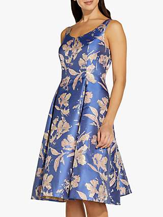 Adrianna Papell Floral Jacquard Dress, Blue/Pink