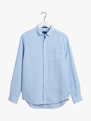 GANT Regular Fit Stripe Linen Shirt, Capri Blue