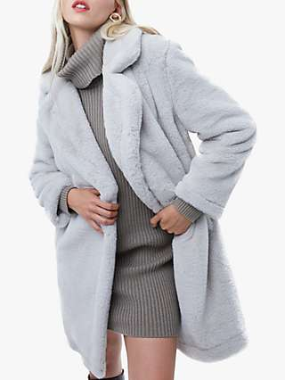 French Connection Banna Faux Fur Coat, Stone Grey