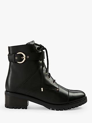 Ted Baker Liyra Leather Biker Boots, Black