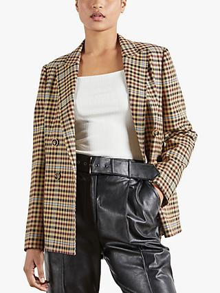 Ted Baker Ramune Check Double Breasted Blazer, Camel/Multi