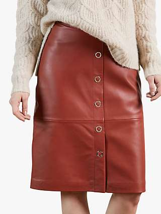Ted Baker Deetra Leather Skirt, Red